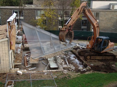 Demolition of the existing Wister Greenhouse. photo credit: R. Maurer