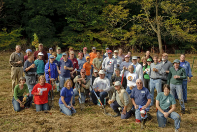 Volunteers who plant riparian forest buffer. photo credit: R. Maurer