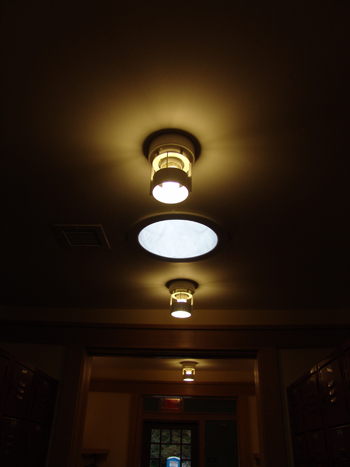 Light tubes and CLF lamps line the volunteer hallway in the Wister Center. photo credit: R. Robert