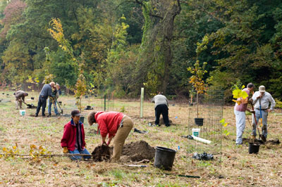 Volunteers planting the riparian forest buffer. photo credit: R. Maurer