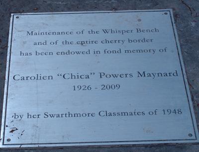 Plague for Chica Maynard '48 garden. photo credit. R. Robert