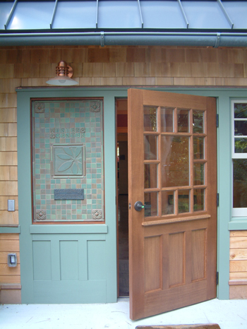 Entrance to Wister Education Center and Greenhouse. photo credit: Archer and Buchcannon