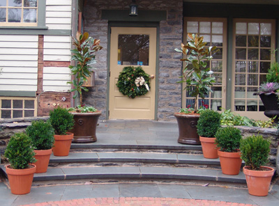 Winter containers in the Scott Entrance Garden. photo credit: R. Robert