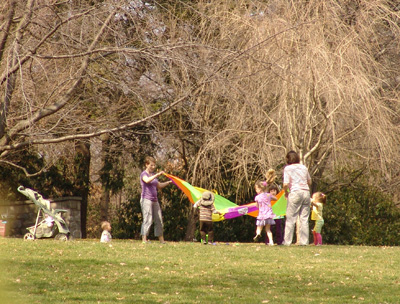 Playing parachute in the Cherry Border. photo credit: R. Robert