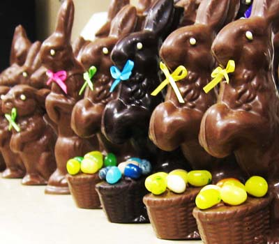 Encore Chocolates' hand made chocolate bunnies ready to be packaged; Photo courtesy of Encore Chocolates