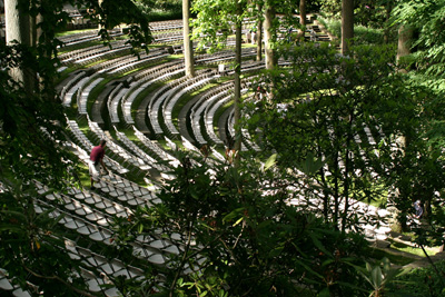 Gardeners setting up chairs for the commencement ceremony in the Scott Outdoor Amphitheater. photo credit: D. Mattis