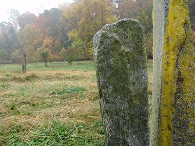 The original Crumhenge had a graveyard-like quality with thin, tall rectangular rocks standing upright. photo credit: R. Robert