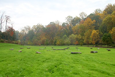 This fall, the original Crumhenge was reconstructed with all the boulders lying flat on the ground. photo credit: A. Bacon