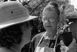 Eve Thyrum has provided her botanical insight and nomenclature expertise to the Plant Exchange year after year. Here is Eve in 2001.