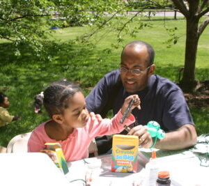 daughter - dad- outside craft